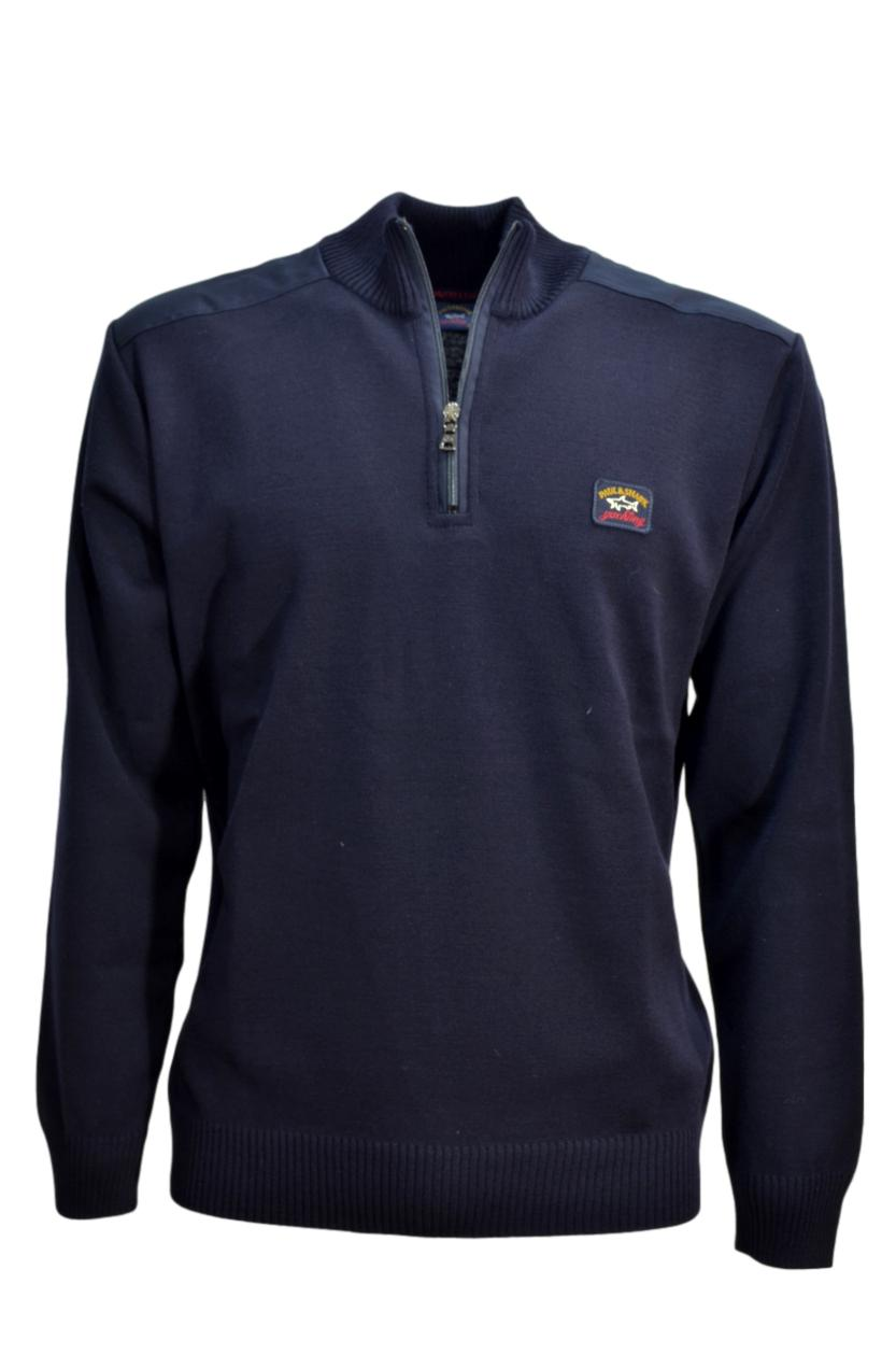PAUL SHARK YACHTING PULL  ZIP CON TOPPE COLORE BLU MODELLO COP1028
